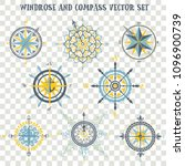 windrose and compass vector set | Shutterstock .eps vector #1096900739