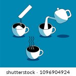 making instant coffee pour... | Shutterstock .eps vector #1096904924