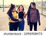 teenage girl friends walking... | Shutterstock . vector #1096908473