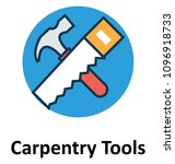 hammer and saw tools line and... | Shutterstock .eps vector #1096918733