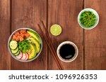 an overhead photo of poke ... | Shutterstock . vector #1096926353