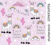 cute cartoon llama with an... | Shutterstock .eps vector #1096926956