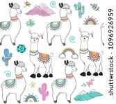 cute cartoon llama on a white... | Shutterstock .eps vector #1096926959