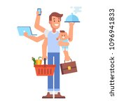 multitasking man. super dad  ... | Shutterstock .eps vector #1096941833