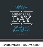 happy memorial day typography... | Shutterstock .eps vector #1096956380