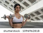 fitness woman training outdoors ... | Shutterstock . vector #1096962818