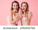 two laughing elegant women in... | Shutterstock . vector #1096963760