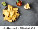 nachos chips and various dip... | Shutterstock . vector #1096969514