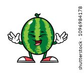 cartoon laughing watermelon... | Shutterstock .eps vector #1096984178