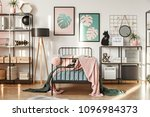metal shelves with decorations  ... | Shutterstock . vector #1096984373