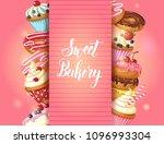 sweet bakery background frame... | Shutterstock .eps vector #1096993304