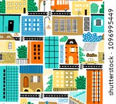 childish seamless pattern with... | Shutterstock .eps vector #1096995449