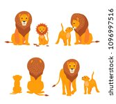 Lion And Son Family Vector...