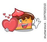 with heart sponge cake mascot...   Shutterstock .eps vector #1097002010