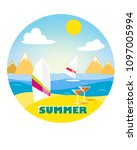 surf board in the sand on the... | Shutterstock .eps vector #1097005994