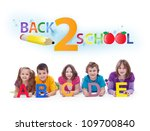 Kids with alphabet letters  - back to school and learning concept - stock photo