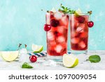 summer iced refreshment drink ... | Shutterstock . vector #1097009054
