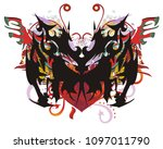 ornate butterfly with red heart ...   Shutterstock .eps vector #1097011790