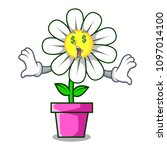 money eye daisy flower mascot... | Shutterstock .eps vector #1097014100