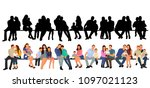 set of sitting people  flat... | Shutterstock .eps vector #1097021123