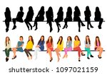 isolated  set of sitting girls ... | Shutterstock .eps vector #1097021159