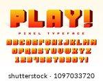 pixel vector font design ... | Shutterstock .eps vector #1097033720