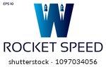 letter w rocket logo design | Shutterstock .eps vector #1097034056