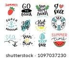 set of 12 summer logo with hand ... | Shutterstock .eps vector #1097037230