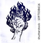 raised inked hand as a fist...   Shutterstock .eps vector #1097038616