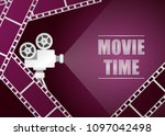 retro movie projector with... | Shutterstock .eps vector #1097042498