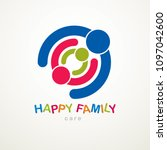 happy family vector logo or... | Shutterstock .eps vector #1097042600