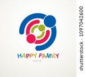 happy family vector logo or... | Shutterstock .eps vector #1097042600