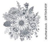 floral composition. bouquet... | Shutterstock .eps vector #1097045459