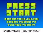 pixel vector font design ... | Shutterstock .eps vector #1097046050