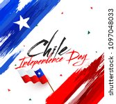 independence day of chile with... | Shutterstock .eps vector #1097048033