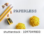 paperless text and yellow... | Shutterstock . vector #1097049803