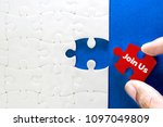 close up piece of white jigsaw... | Shutterstock . vector #1097049809