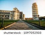 leaning tower of pisa in pisa ... | Shutterstock . vector #1097052503