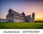 leaning tower of pisa in pisa ... | Shutterstock . vector #1097052509
