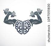 power brain emblem  genius... | Shutterstock .eps vector #1097055830