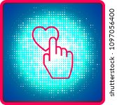 red heart button like finger...   Shutterstock .eps vector #1097056400