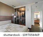 modern bedroom interiors with... | Shutterstock . vector #1097056469