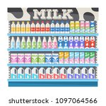 supermarket shelf display with... | Shutterstock .eps vector #1097064566