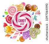 candy shop poster. colorful...   Shutterstock .eps vector #1097064590