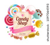 candy shop poster. colorful... | Shutterstock .eps vector #1097064593
