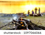 group of friends on camp with... | Shutterstock . vector #1097066066