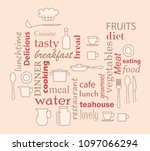 word collage for kitchen and...   Shutterstock . vector #1097066294