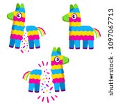 cute colorful cartoon pinata.... | Shutterstock .eps vector #1097067713