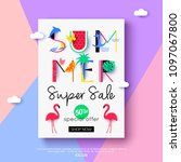 summer sale flyer for online... | Shutterstock .eps vector #1097067800