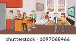 cartoon teenager in the living... | Shutterstock .eps vector #1097068466